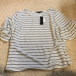 Bell sleeved striped top